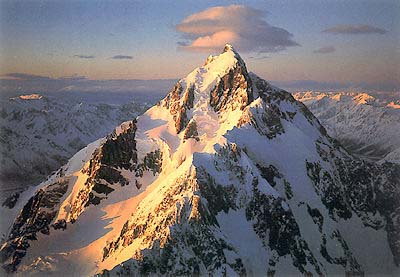 Sunrise on Mt Cook Poster: New Zealand.