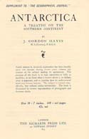 Antarctica: A Treatise on the Southern Continent Prospectus: Hayes, J. Gordon
