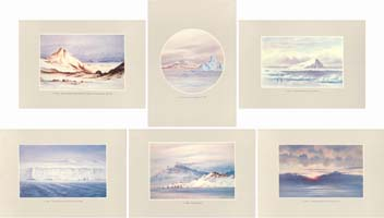 Facsimile Reproductions of Antarctic Watercolours - Set C: Scenery: Wilson, Edward